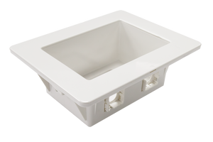 Picture of AV-RPS02: DYNAMIX Recessed Wall Box with 2x AMDEX style outlets and 1x GPO Slot. Suitable for 70 & 90mm wall cavities. For plaster walls only. Outside face: 185 x 145mm. Recess: 166 x 100mm. Depth: 63mm.