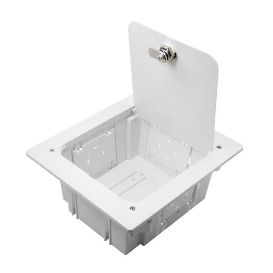 Picture of AVB300: DYNAMIX Recessed Entertainment Box Delivering AV, data & power in Wall connectivity. Supplied with Optional Lockable Lid. 3x device openings, ABS Moulded Plastic. Dimensions: 210 x 240 x 102mm