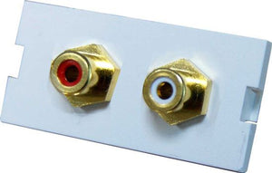 Picture of AVP-2RCA: DYNAMIX 2 RCA Stereo Bezel for AVP-3UFP Plate. Red & White. Gold Plated