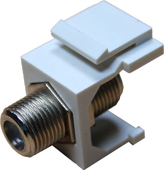 Picture of AVP-FCONN: DYNAMIX F to F Keystone Adapter Female Connectors on the Front and Back. For use with Keystone Panels or Wall Plates.