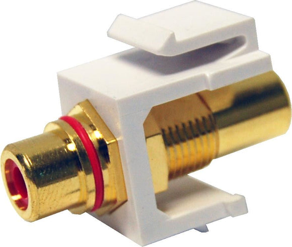 Picture of AVP-RCA-RE: DYNAMIX Red RCA to RCA Keystone Adapter. Gold Plated