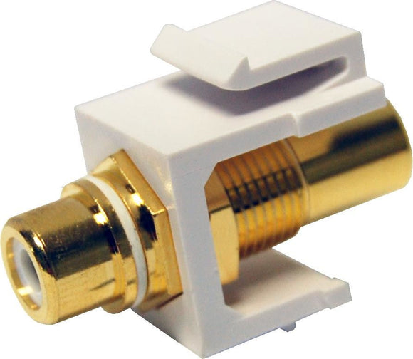 Picture of AVP-RCA-WH: DYNAMIX White RCA to RCA Keystone Adapter. Gold Plated
