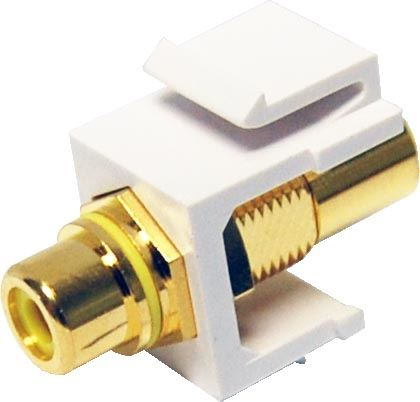 Picture of AVP-RCA-YE: DYNAMIX Yellow RCA to RCA Keystone Adapter. Gold Plated