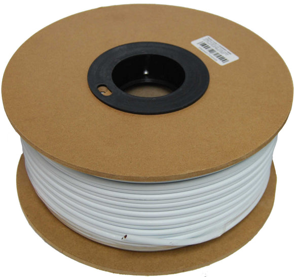 Picture of C-RG59WP-100W: DYNAMIX 100m Roll RG59 with Twin Power Cable 0.75mm. RG59 75hom Solid Coper Conductor, CCA Braid. Colour White