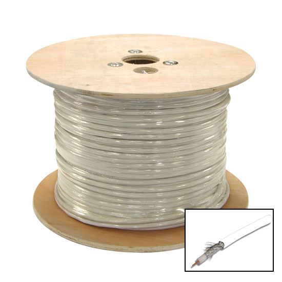 Picture of C-RG6-305-WH: 305m Roll RG6 Shielded Cable White. 75ohm. 18AWG solid core. Foil and braid shield. *** SKY APPROVED ***