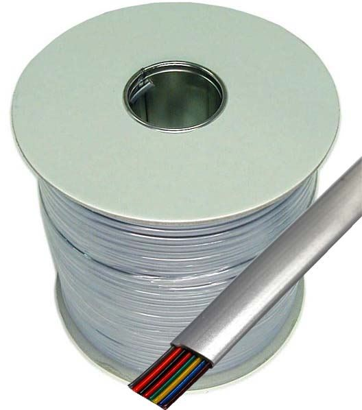Picture of C-RJ45-R: DYNAMIX 300m Roll 8-Wire Flat Cable, Silver colour, supplied on a reel