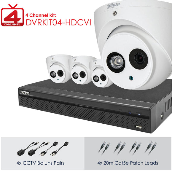Picture of DVRKIT04-HDCVI: DAHUA Full HD 4 Channel Digital Surveillance Kit. Incl. 4 Port HD DVR, 1TB HDD, 4x 2MP Camera HD IR VANDAL D/N. IP67. 4x 20m Cat5 patch leads. 4x CCTV/UTP Baluns. Camera power adapter with splitter.