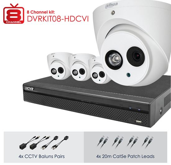 Picture of DVRKIT08-HDCVI: DAHUA Full HD 8 Channel Digital Surveillance Kit. Incl. 8 Port HD DVR, 1TB HDD, 4x 2MP Camera HD IR VANDAL D/N. IP67. 4x 20m Cat5 patch leads, 4x CCTV/UTP Baluns. Camera power adapter with splitter.