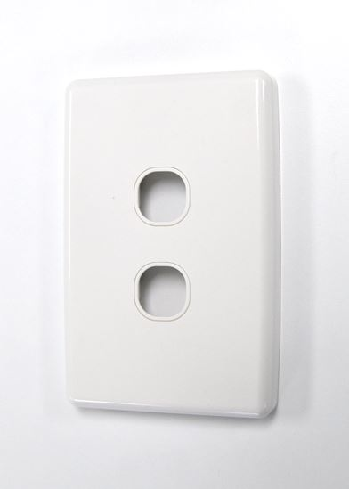 Picture of FP-2PV3: AMDEX Switch Plate ONLY. 2 Gang WPC Series Wall Face Full Cover Plate. (Accepts Clipsal Style Mechs)