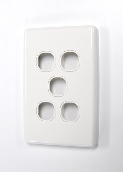 Picture of FP-5PV3: AMDEX Switch Plate ONLY. 5 Gang WPC Series Wall Face Full Cover Plate. (Accepts Clipsal Style Mechs)
