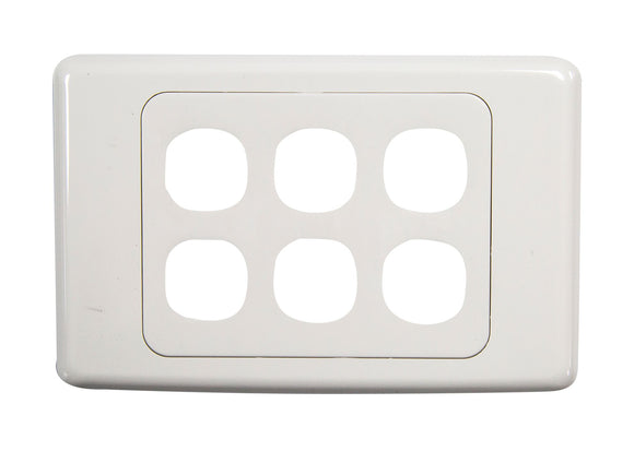 Picture of FP-6PV2: AMDEX Six Port RJ45 Face Plates. AMDEX style.