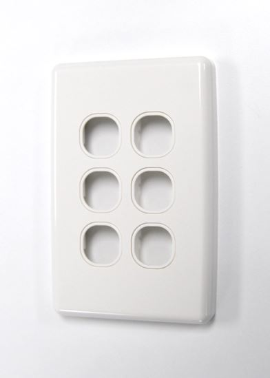 Picture of FP-6PV3: AMDEX Switch Plate ONLY. 6 Gang WPC Series Wall Face Full Cover Plate. (Accepts Clipsal Style Mechs)