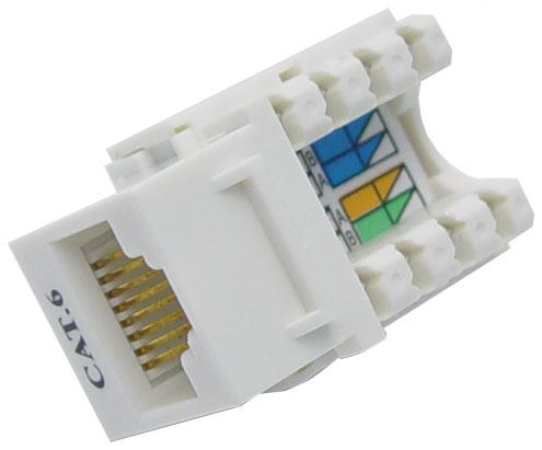 Picture of FP-C6-002: DYNAMIX Cat6 Keystone RJ45 Jack for 110 Face Plate . T568A/T568B Wiring. 90 Jack.