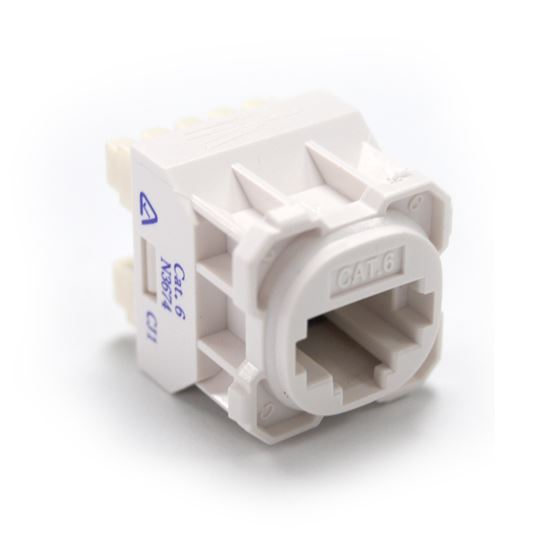 Picture of FP-C6-005: AMDEX Cat6 RJ45 Jack for AMDEX Face Plates. White Recommend for use with RJ45 plugs only. T568A Wiring Only.