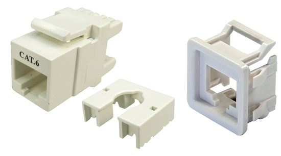 Picture of FP-C6-007C: DYNAMIX Cat6 180 Unshielded Keystone Jack with Keystone to PDL600 Series. Compatible Modular Clip. Colour White