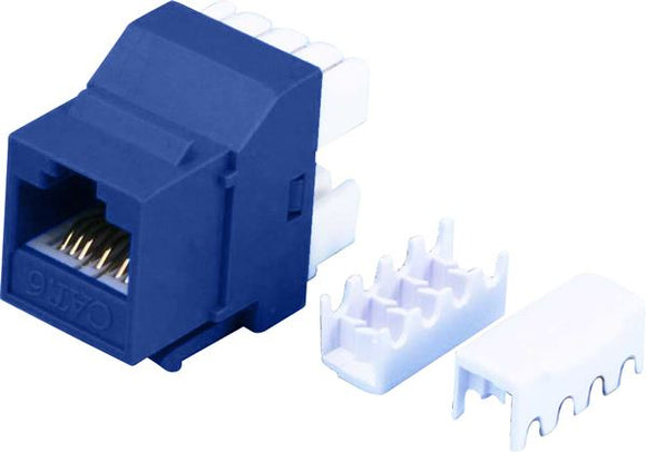 Picture of FP-C6-BLUE: DYNAMIX Cat6 BLUE Keystone RJ45 Jack for 110 Face Plate. T568A/ T568B Wiring. 180 Slimline Jack.
