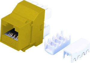 Picture of FP-C6-YELLOW: DYNAMIX Cat6 YELLOW Keystone RJ45 Jack for 110 Face Plate T568A/T568B Wiring. 180 Slimline Jack.