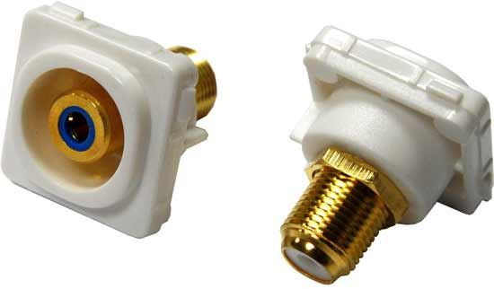 Picture of FP-RCAF-BL: AMDEX Blue RCA to F Connector. Gold Plated