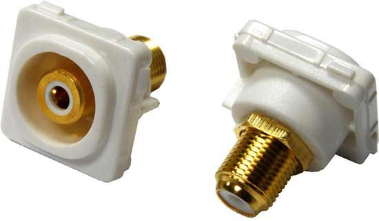 Picture of FP-RCAF-WH: AMDEX White RCA to F Connector. Gold Plated
