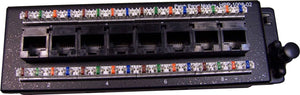 Picture of HPP-1008-1SL: DYNAMIX 8 Port Cat6 Slimline Patch Panel for HWS range T568A. Dimensions: 48 x 157 x 21mm (WxLxH)