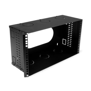 Picture of HWMB200-6U: DYNAMIX 6U 200mm Deep 19'' Fully Enclosed Hinged Wall Mount Bracket. Includes Lid & Base Panels. Incorporates Side Venting & Rear Entry Plus Knock Outs on Top, Bottom & Sides. Black Colour