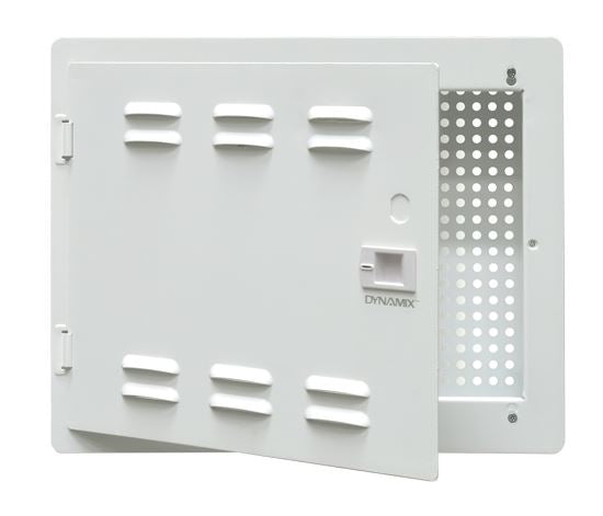 Picture of HWS-1404V2: DYNAMIX 14'' Network Enclosure Recessed Wall Mount, Vented Lid, Cable/GPO Knock outs. Installs: 400 mm Centre Stud. Cut out OD: 355x 276 x 99mm. Incl. Installation Accessories, Earth Kit