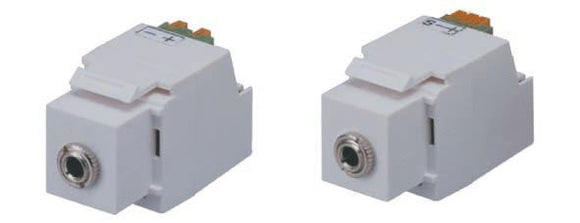 Picture of ISK-350S-WH: DYNAMIX Keystone Stereo Socket for HWS range. White Colour.