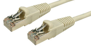Picture of PL-STP6-20: DYNAMIX 20m Cat6 26AWG Beige STP Patch Lead (T568A Specification) Slimline Snaggles Moulding. 26AWG