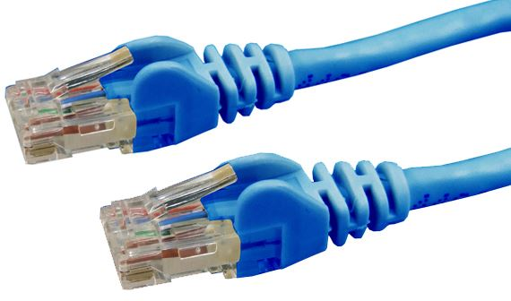 Picture of PLE-C6A-0: DYNAMIX 0.5m Cat6 Blue UTP Patch Lead (T568A Specification) 250MHz Slimline Snagless Moulding