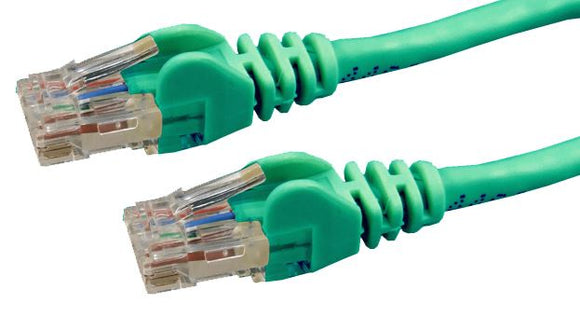 Picture of PLG-C6A-5: DYNAMIX 5m Cat6 Green UTP Patch Lead (T568A Specification) 250MHz Slimline Snagless Moulding