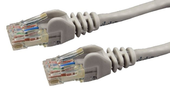 Picture of PLGY-C6A-0: DYNAMIX 0.5m Cat6 Grey UTP Patch Lead (T568A Specification) 250MHz Slimline Snagless Moulding