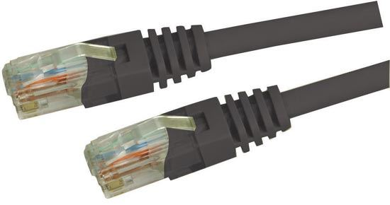 Picture of PLK-C5E-2: DYNAMIX 2m Cat5e Black UTP Patch Lead (T568A Specification) 100MHz Slimline Moulding & Latch Down Plug