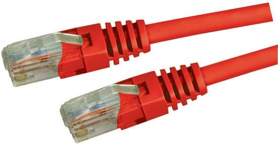 Picture of PLR-C5E-PP: DYNAMIX 0.3m Cat5e Red UTP Patch Lead (T568A Specification) 100MHz Slimline Moulding & Latch Down Plug