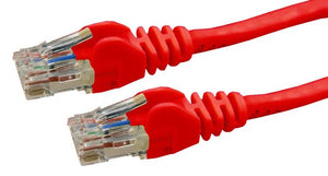 Picture of PLR-C6A-0: DYNAMIX 0.5m Cat6 Red UTP Patch Lead (T568A Specification) 250MHz Slimline Snagless Moulding