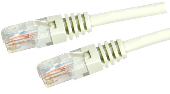 Picture of PLW-C5E-1: DYNAMIX 1m Cat5e White UTP Patch Lead (T568A Specification) 100MHz Slimline Moulding & Latch Down Plug
