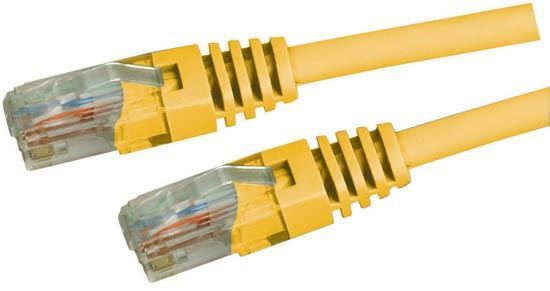 Picture of PLY-C5E-0: DYNAMIX 0.5m Cat5e Yellow UTP Patch Lead (T568A Specification) 100MHz Slimline Moulding & Latch Down Plug