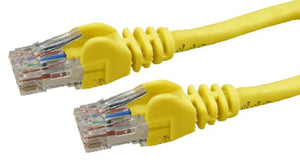 Picture of PLY-C6A-1: DYNAMIX 1m Cat6 Yellow UTP Patch Lead (T568A Specification) 250MHz Slimline Snagless Moulding