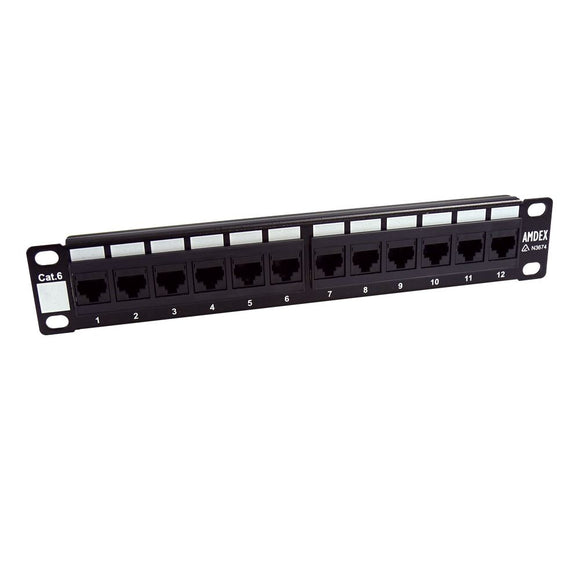 Picture of PP10-C6-12: DYNAMIX 10'' 12 Port Cat6 Patch Panel for 10'' Cabinet R10 series