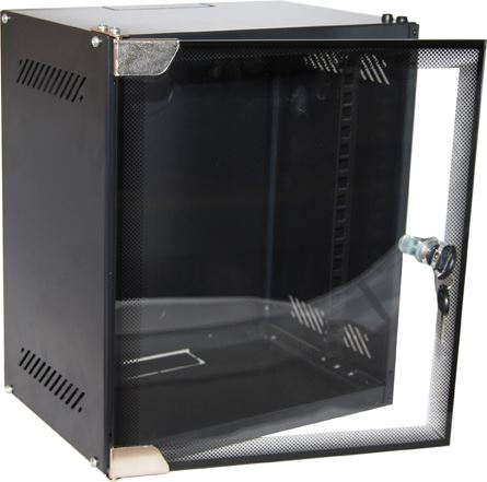 Picture of R10WM6: DYNAMIX 6RU Mini Cabinet for 10'' Panels, W280 x D200 x H329mm Supplied in a flat pack. Glass front door. Wall mount bracket, included. Powder coated black finish.