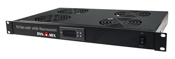Picture of RAFT-DT: DYNAMIX 1U Fan Unit with Digital Thermostat. 4x Fans, 19'' Installation. 290mm Deep