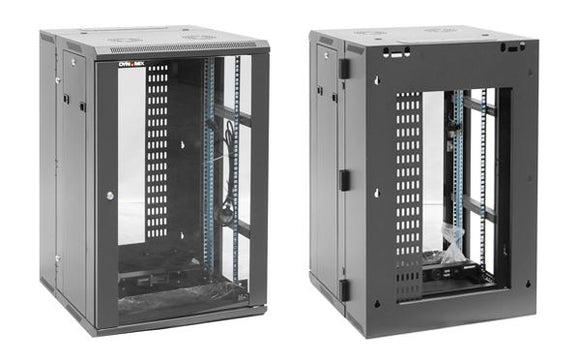Picture of RDME12: DYNAMIX 12RU 600mm Deep Universal Swing Wall Mount Cabinet. 200mm Removable Backmount. Supplied with Rear Vertical Cable 6 way PDU and 10 cage nuts. Black