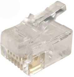 Picture of RJ-11-20: DYNAMIX RJ11 Plug 20pc Bag, 6P4C Modular Plug. 3 micron.