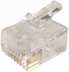 Picture of RJ-12-20: DYNAMIX RJ12 Plug 20pc Bag, 6P6C Modular Plug. 3 micron.
