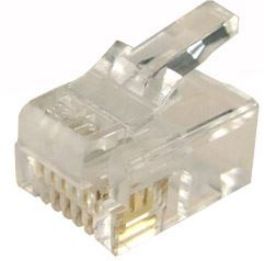 Picture of RJ-12S-JAR: DYNAMIX RJ12 Plug 200pc Jar, 6P6C Modular for SOLID Cable. 3 micron.