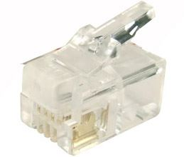 Picture of RJ-14-20: DYNAMIX RJ14 Plug 20pc Bag, 4P4C Modular Plug. 6 micron.