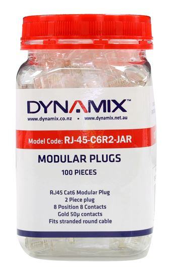 Picture of RJ-45-C6R2-JAR: DYNAMIX Cat6 RJ45 Plug 100pc Jar, 8P8C 2 Piece Modular Plug (Rounded Stranded). 50 micron