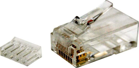 Picture of RJ-45-C6SR2-20: DYNAMIX Cat6 RJ45 Plug 20pc Bag, 8P8C 2 Piece Modular Plug (Rounded Solid). 50 micron