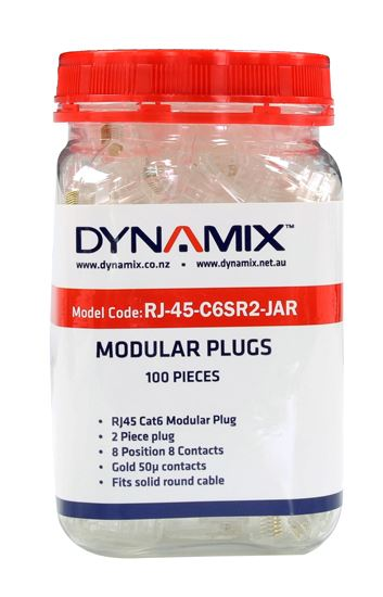 Picture of RJ-45-C6SR2-JAR: DYNAMIX Cat6 RJ45 Plug 100pc Jar, 8P8C 2 Piece Modular Plug (Rounded Solid). 50 micron
