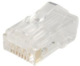 Picture of RJ-45-RLD-JAR: DYNAMIX RJ45 Plug 100pc Jar, Latch Down Clip 8P8C Modular (Round, Stranded). 50 micron