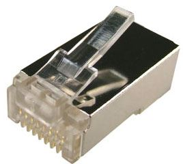 Picture of RJ-45-RSH-JAR: DYNAMIX RJ45 Plug 100pc Jar, 8P8C Shielded Modular. 50 micron (Round, Stranded)